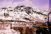 Alaska Railroad scenic rail tour between Grandview and Anchorage, Alaska USA