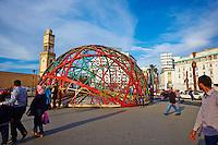 Maroc, Casablanca, place des Nations Unis, la sphere Zevaco et la tour de l Horloge // Morocco, Casablanca, United Nation (Nation Unis) square, Zevaco Dome and Clock Tower