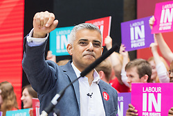 Kings Cross, London, June 22nd 2016. A final rally by members of the Labour Party's Vote Remain team is held in King's Cross, bringing London mayor Sadiq Khan, Welsh first minister Carwyn Jones, Labour In For Britain head Alan Johnson and Scottish leader Kezia Dugdale and Party Leader Jeremy Corbyn in a show of unity as they express the importance of a Remain vote. PICTURED: Mayor of London Sadiq Khan acknowledges the crowd's applause as he arrives.