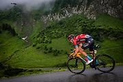 LE GRAND BORNAND, FRANCE - JULY 03 :  TEUNS Dylan (BEL) of BAHRAIN VICTORIOUS during stage 8 of the 108th edition of the 2021 Tour de France cycling race, a stage of 150,8 kms between Oyonnax and Le Grand Bornand on July 3, 2021 in Le Grand Bornand, France, 3/07/2021