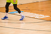 The WNBA logo on the court during a preseason game between the Dallas Wings and the Connecticut Sun in Arlington, Texas on May 8, 2016.  (Cooper Neill for The New York Times)