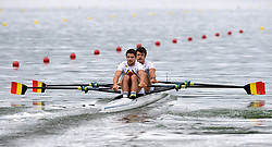 Belgium's Pierre De Loof and Ruben Claeys in the Men's Double Sculls heat three during day one of the 2018 European Championships at the Strathclyde Country Park, North Lanarkshire