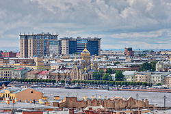 Cityscape and Russian Orthodox Church of the Assumption of the Blessed Virgin Mary on the Neva River, Saint Petersburg, St Petersburg, Russia