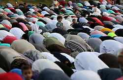 September 1, 2017 - Gaza City, Gaza Strip - Palestinian muslims pray on the first day of of Eid al-Adha or the feast of sacrifice in Gaza city. Muslims around the world are celebrating Eid al-Adha, the ''Feast of Sacrifice'', which marks the end of the annual pilgrimage or hajj to the Saudi holy city of Mecca and in remembrance of Abraham's readiness to sacrifice his son to God  (Credit Image: © Mohammed Asad/APA Images via ZUMA Wire)