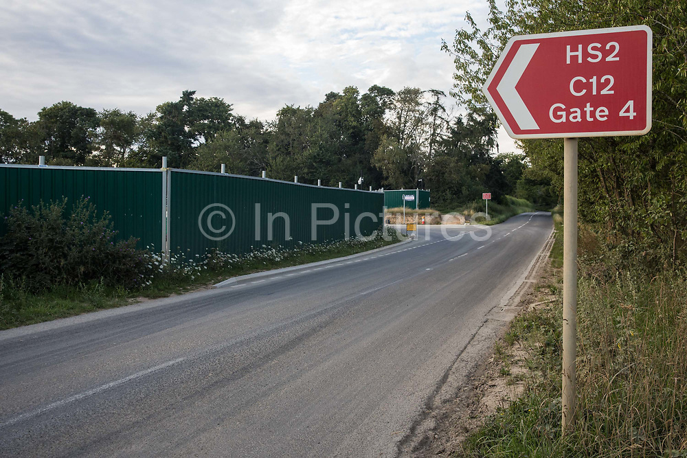A sign indicates the site of a ventilation shaft for the Chiltern Tunnel on the HS2 high-speed rail link on 18th July 2020 in Chalfont St Peter, United Kingdom. The Department for Transport approved the issuing of Notices to Proceed by HS2 Ltd to the four Main Works Civils Contractors MWCC working on the £106bn rail project in April 2020.