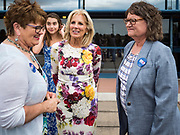 28 JUNE 2019 - DES MOINES, IOWA: Dr. JILL BIDEN, center, accompanied Polk County (IA) Treasurer MARY MALONEY, right, greets voters at the State Historical Museum of Iowa. Dr. Biden was in Des Moines Friday to campaign for her husband, former Vice President Joe Biden. Vice President Biden, who was Vice President for 8 years during the Obama administration, is one of the Democratic front runners for the Presidency. Iowa traditionally hosts the the first selection event of the presidential election cycle. The Iowa Caucuses will be on Feb. 3, 2020.             PHOTO BY JACK KURTZ
