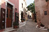 A small street in the medieval town next to Monemvassia in the Peloponnese region of the Greek mainland.  Photograph by Dennis Brack