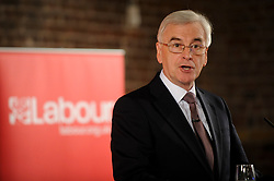 © Licensed to London News Pictures. 07/05/2017. London, UK. John McDonnell MP, Labour's Shadow Chancellor, gives a speech on Labour's fiscal sustainability plans at Museum of London Docklands in Canary Wharf.   Photo credit : Stephen Chung/LNP