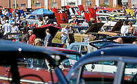 Southbury, Conn. - Sept. 20,  2009 - Car enthusiasts walk around Sunday's 39th annual Antique and Classic Car Show sponsored bythe Roaring '20s Antique and Classic Car Club on Sunday at the Southbury Training School, to which all donations from the event will go. The show also featured a flea market with over 250 vendors..Josalee Thrift Photo