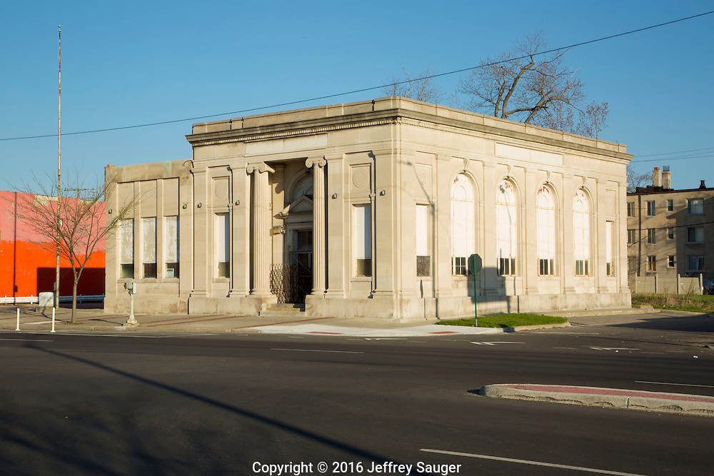 People's Savings Bank in the Jefferson-Chalmers neighborhood in Detroit, Michigan, Wednesday, April 20, 2016. <br /> <br /> On September 7, 2016, The National Trust for Historic Preservation gave the Jefferson-Chalmers neighborhood in Detroit's lower east side the distinction of a National Treasure. This is the first in the state of Michigan and the first project under the National Trust's ReUrbanism initiative. (Photo by Jeffrey Sauger )