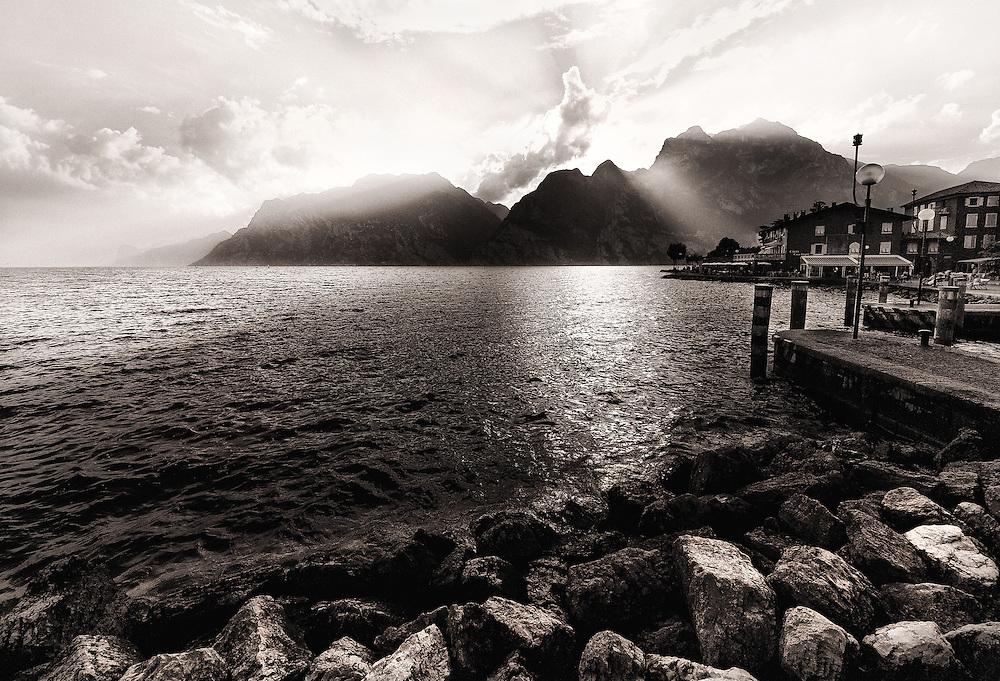 Italy - Riva del Garda - Sunset over Garda lake BW