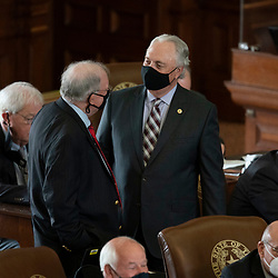 Austin, TX USA March 31, 2021:  State Rep. Drew Darby, R-San Angelo, on the floor of the Texas House of Representatives during routine bill readings at the 87th Texas legislative session. Emergency bills include power company regulation, border security and the coronavirus response.