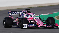 Racing Point's Sergio Perez during day one of pre-season testing at the Circuit de Barcelona-Catalunya.