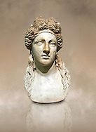 2nd century AD Roman marble sculptured head known as The Farnese Dionysus,  a Roman copy of a  Hellenistic Geek original, inv 6034, Naples Museum of Archaeology, Italy ..<br /> <br /> If you prefer to buy from our ALAMY STOCK LIBRARY page at https://www.alamy.com/portfolio/paul-williams-funkystock/greco-roman-sculptures.html . Type -    Naples    - into LOWER SEARCH WITHIN GALLERY box - Refine search by adding a subject, place, background colour, museum etc.<br /> <br /> Visit our CLASSICAL WORLD HISTORIC SITES PHOTO COLLECTIONS for more photos to download or buy as wall art prints https://funkystock.photoshelter.com/gallery-collection/The-Romans-Art-Artefacts-Antiquities-Historic-Sites-Pictures-Images/C0000r2uLJJo9_s0c