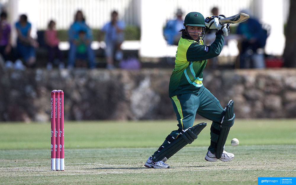 Pakistan batsman Sana Mir in action as Indian and Pakistan compete in the first match of group B of the ICC Women's World Cup Cricket at the picturesque setting of Bradman Oval, Bowral in the New South Wales Southern Highlands, Australia on March 7, 2009. Pakistan were bowled out for 57 while Indian won the match reaching 58 without loss. Photo Tim Clayton