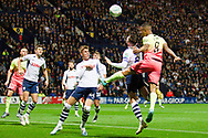 Manchester City forward Gabriel Jesus head the ball back into the penalty area during the EFL Cup match between Preston North End and Manchester City at Deepdale, Preston, England on 24 September 2019.