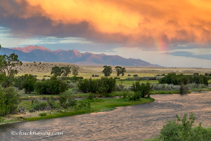 Incredible stormy light on the Madison River at sunset near Ennis, Montana, USA