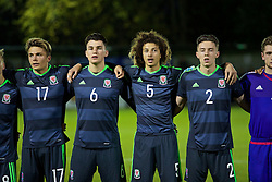 BANGOR, WALES - Saturday, November 12, 2016: Wales' Rhyle Ovenden, Regan Poole, Ethan Ampadu and Cameron Coxe line-up before the UEFA European Under-19 Championship Qualifying Round Group 6 match against England at the Nantporth Stadium. (Pic by Gavin Trafford/Propaganda)