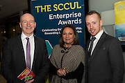 Liam Bluett. SCCUL  with Norah Casey  and Michael Smith Ballybane Enterprise Centre at the annual SCCUL Enterprise Awards prize giving ceremony and business expo which was hosted by NUI Galway in the Bailey Allen Hall, NUIG. Photo:Andrew Downes