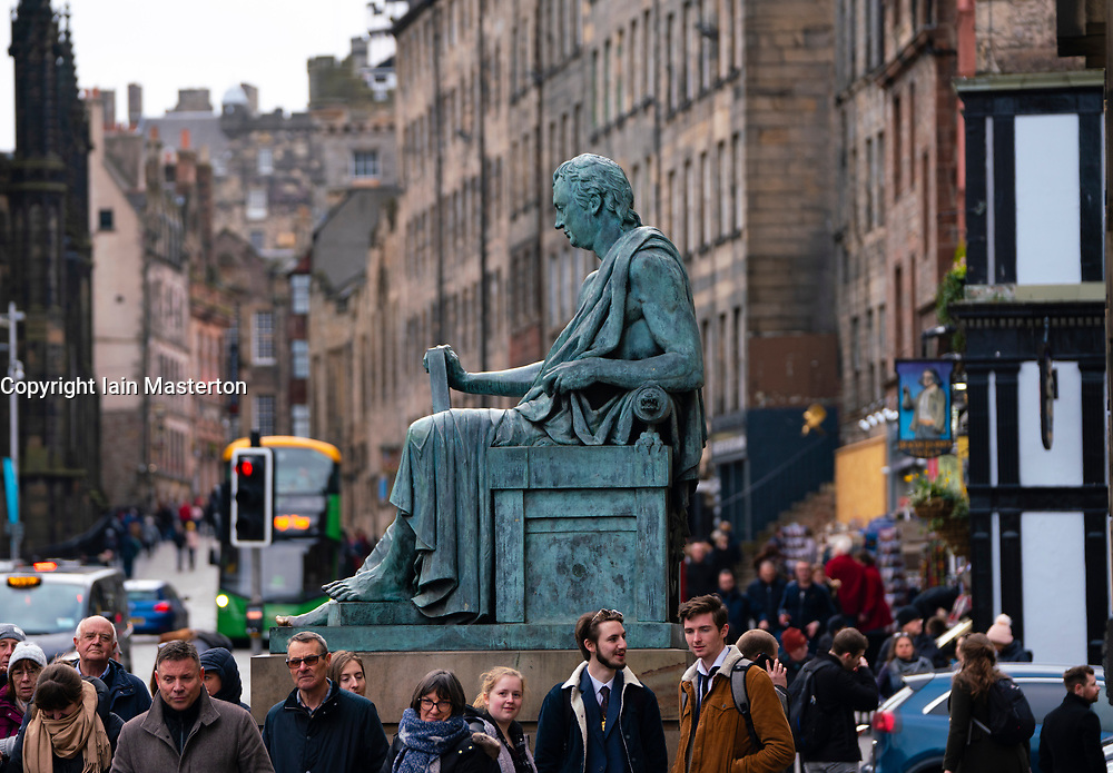 View of statue of Hume on the Royal Mile in Edinburgh, Scotland, UK