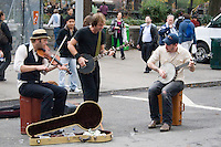 A band of musicians busking on Union Square Manhattan New York