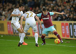 Mauro Zarate of West Ham United manages to keep the ball in play. - Mandatory byline: Alex James/JMP - 07966 386802 - 20/12/2015 - FOOTBALL - Liberty Stadium - Swansea, England - Swansea City v West Ham United - Barclays Premier League