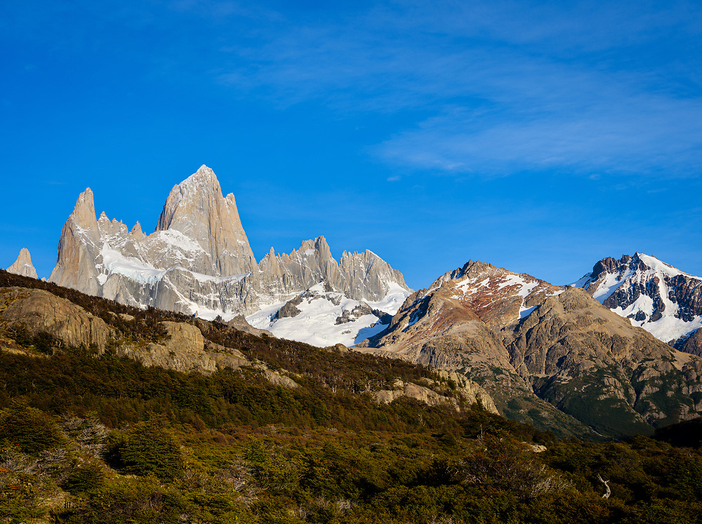 NATIONAL PARK LOS GLACIARES, ARGENTINA - CIRCA FEBRUARY 2019: Mountains at National Park los Glaciares in Argentina.
