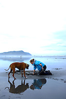 Clamming for Razor Clams along the Oregon Coast. Gearhart, OR.