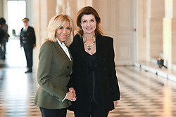 French President's wife Brigitte Macron welcomes Ukrainian President's wife Maryna Poroshenko as they take part in a spousal event at the Chateau de Versailles in Versailles, near Paris, on November 11, 2018 as part of commemorations marking the 100th anniversary of the 11 November 1918 armistice, ending World War I. Photo By Laurent Zabulon/ABACAPRESS.COM