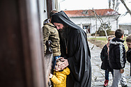 Décembre 2017. Kosovo : 10ème anniversaire de l'indépendance. Fête de la Saint-Nicolas avec les Serbes dans le monastère Goriochi (Saint-Nicolas) près d'Istog. Moines du monastère de Draganac Ilarion Lupulovic (père Ilarion), 39 ans, serbe, higoumène (abbé) du monastère de Draganac.