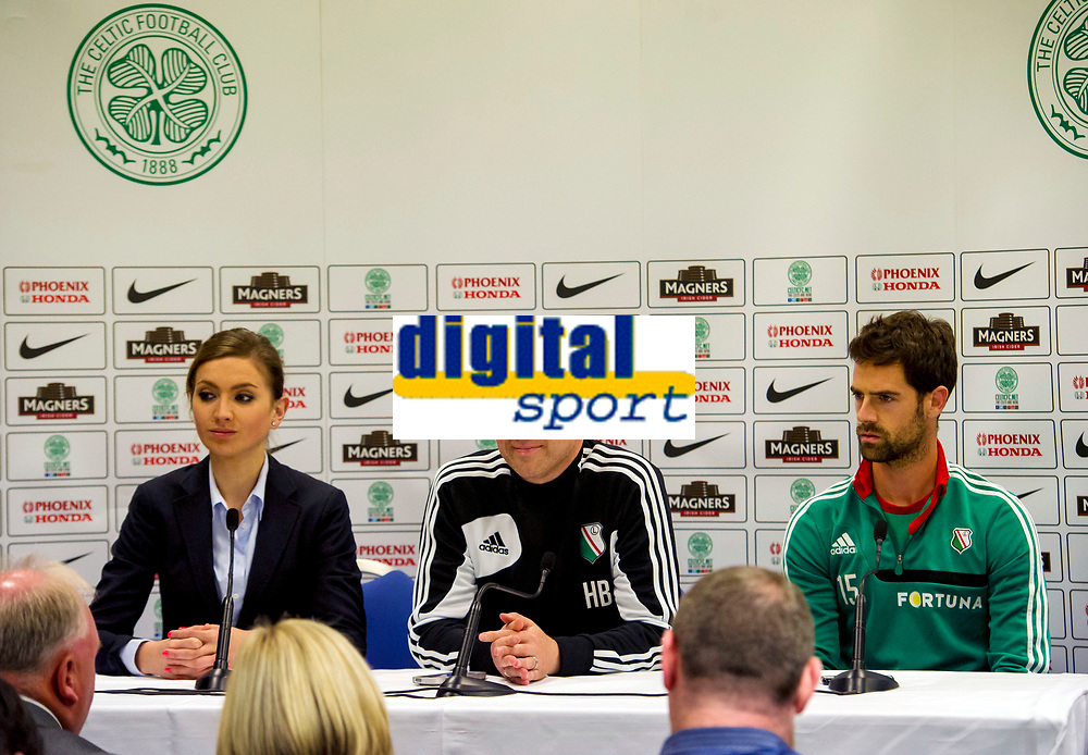 05/08/14<br /> BT MURRAYFIELD STADIUM - EDINBURGH<br /> Legia Warsaw's manager  Henning Berg (centre) and Inaki Astiz talks to the press ahead of their sides clash with Celtic