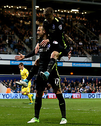 Glenn Murray of Brighton & Hove Albion celebrates scoring a goal to make it 1-0 - Mandatory by-line: Robbie Stephenson/JMP - 07/04/2017 - FOOTBALL - Loftus Road - Queens Park Rangers, England - Queens Park Rangers v Brighton and Hove Albion - Sky Bet Championship