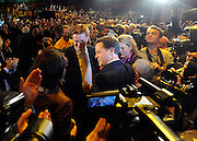 © Licensed to London News Pictures. 21/09/2011. BIRMINGHAM, UK.  Nick Clegg is surrounded by media as he greets his wife, Miriam, after the speech. Deputy Prime Minister Nick Clegg delivers his keynote speech at the Liberal Democrat Conference at the Birmingham ICC today (21 Sept 2011): Stephen Simpson/LNP