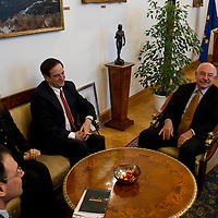 Dan Meridor (3rd left) deputy prime minister of Israel meets Janos Martonyi (4th left) minister of foreing affairs of Hungary during his official visit in Budapest, Hungary on February 17, 2011. ATTILA VOLGYI