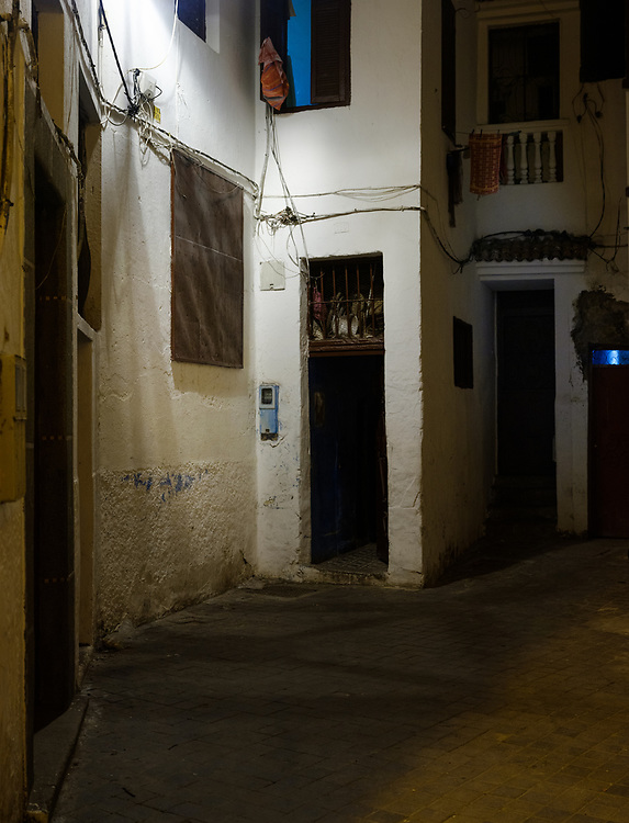 CASABLANCA, MOROCCO - CIRCA APRIL 2018: Street corner of the Medina in Casablanca at night.