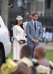 AU_1378076 - ** RIGHTS: ONLY AUSTRALIA, NEW ZEALAND ** SUVA, FRENCH POYNESIA  -  Prince Harry and Meghan Markle attend an official ceremony in Suva, Fiji.<br /> <br /> Pictured: Prince Harry and Meghan Markle<br /> <br /> BACKGRID Australia 22 OCTOBER 2018 <br /> <br /> Phone: + 61 2 8719 0598<br /> Email:  photos@backgrid.com.au