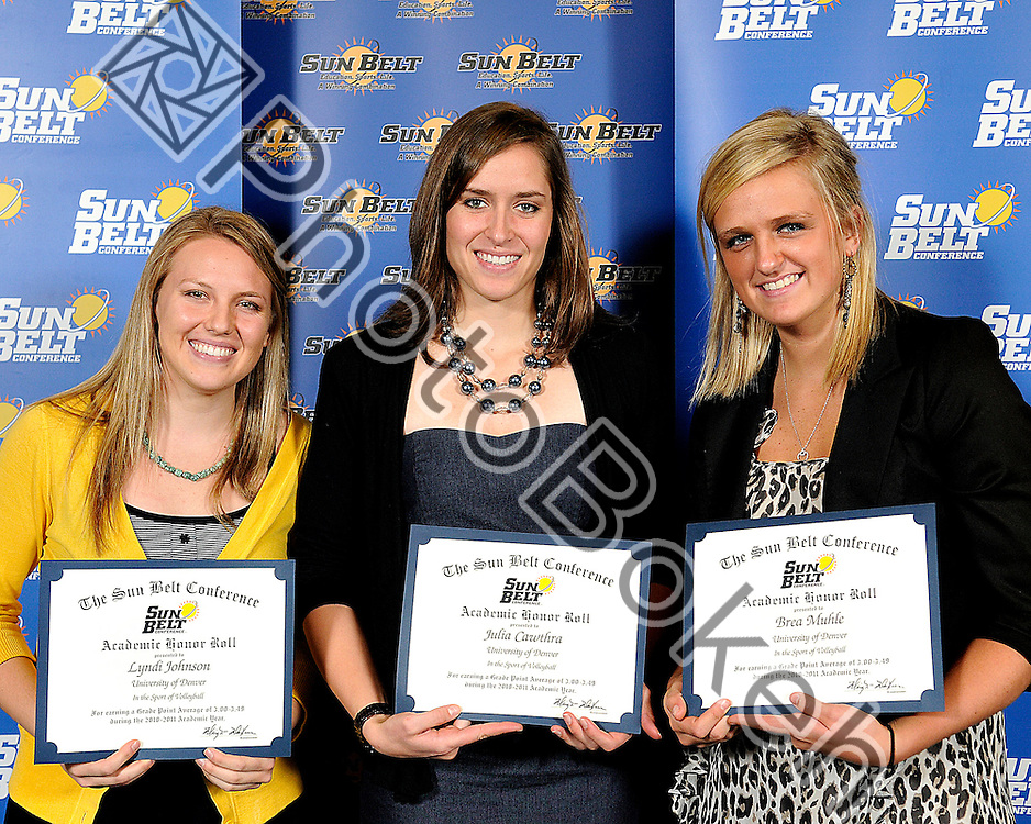 2011 November 16 - University of Denver Julia Cawthra, Lyndi Johnson, and Brea Muhle recognized for the Academic Honor Roll. .Florida International University hosted the 2011 Sunbelt Volleyball Banquet at the Stadium Club in Alfonso Field, Miami, Florida. (Photo by: www.photobokeh.com / Alex J. Hernandez) 1/250 f/4 ISO400 51mm
