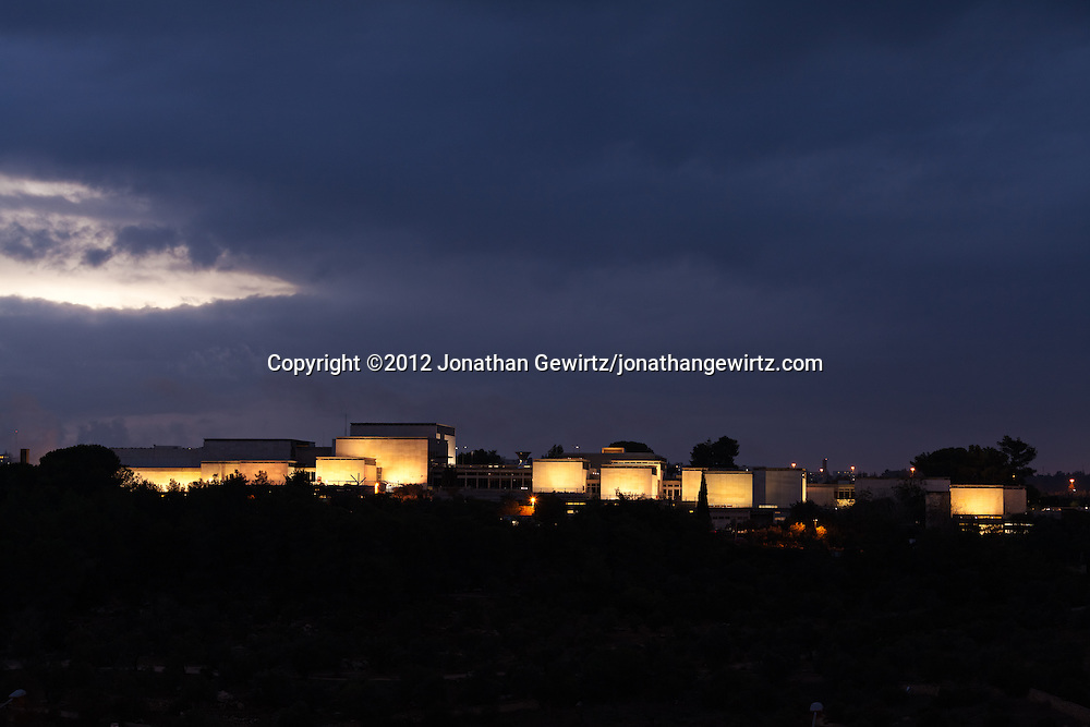 The Israel Museum in Jerusalem, floodlit at twilight, as seen from the eastern slope of the Valley of the Cross. WATERMARKS WILL NOT APPEAR ON PRINTS OR LICENSED IMAGES.