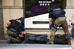 BARCELONA (SPAIN), Aug. 17, 2017  Police special forces work near Plaza Catalonia following a terrorist attack in central Barcelona, Spain, on Aug. 17, 2017. At least one person was reported dead and 32 others injured following a terrorist attack in the city of Barcelona on Thursday afternoon. (Credit Image: © Lino De Vallier/Xinhua via ZUMA Wire)