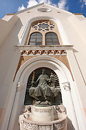 Statue of St Istvan on the Neo Gothic Cathedral (Nagybuldoggasszony Stekesegyhaz)  of Kaposvar capital of Somogy county (megye), Hungary .<br /> <br /> Visit our HUNGARY HISTORIC PLACES PHOTO COLLECTIONS for more photos to download or buy as wall art prints https://funkystock.photoshelter.com/gallery-collection/Pictures-Images-of-Hungary-Photos-of-Hungarian-Historic-Landmark-Sites/C0000Te8AnPgxjRg