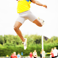 14 August 2010; Lunga Bulman, Clare County, in action during the Men's Division One Jump at the Woodie's DIY National League Final 2010. Tullamore Harriers Stadium, Tullamore, Co. Offaly. Picture credit: Barry Cregg / SPORTSFILE *** NO REPRODUCTION FEE ***