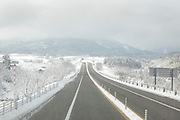 winter time on the Tokai Hokuriku Expy in Gifu prefecture Japan