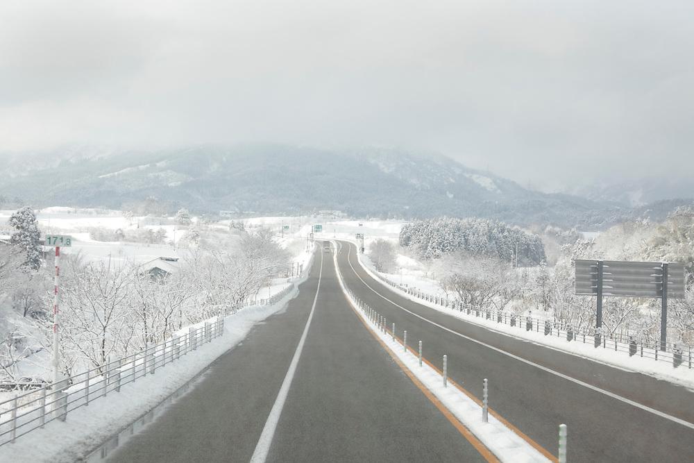 winter time on the Tokai Hokuriku Expy in Gifu prefecture Japan