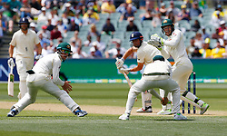 Australia's Cameron Bancroft ( left ) celebrates as Steve Smith takes the catch to dismiss England's Alastair Cook off the bowling of Nathan Lyon during day three of the Ashes Test match at the Adelaide Oval, Adelaide.