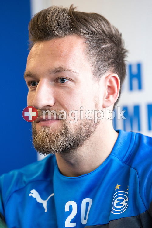 Captain Daniel Pavlovic is pictured during a press conference of Super League (National League A) soccer team Grasshopper Club Zuerich (GCZ) held at the GC Campus in Niederhalsi, Switzerland, Friday, Feb. 6, 2015. (Photo by Patrick B. Kraemer / MAGICPBK)