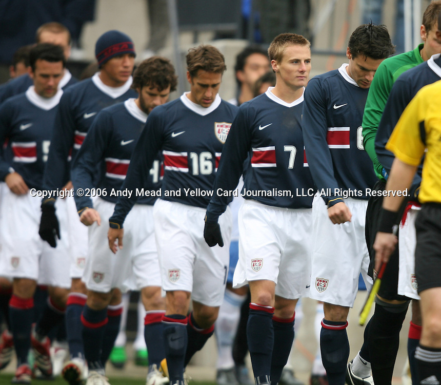 Chris Rolfe (7), of the United States, marches onto the field with his teammates for the start of the game on Sunday, February 19th, 2005 at Pizza Hut Park in Frisco, Texas. The United States Men's National Team defeated Guatemala 4-0 in a men's international friendly.