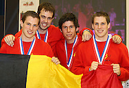 Loughborough, England - Saturday 31 July 2010: Members of the Belgian mens team, Stijn Geigregat, Willem Tack, Wouter Tack and Jonas Vermeulen, celebrate winning the mens team title during the World Rope Skipping Championships held at Loughborough University, England. The championships run over 7 days and comprise junior categories for 12-14 year olds in the World Youth Tournament, 15-17 year olds male and female championships, and any age open championships. In the team competitions, 6 events are judged, the Single Rope Speed, Double Dutch Speed Relay, Single Rope Pair Freestyle, Single Rope Team Freestyle, Double Dutch Single Freestyle and Double Dutch Pair Freestyle. For more information check www.rs2010.org. Picture by Andrew Tobin/Picture It Now.