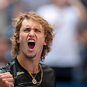 2019 US Open Tennis Tournament- Day Four.  Alexander Zverev of Germany celebrates his five set victory against Frances Tiafoe of the United States in the Men's Singles Round Two match on Arthur Ashe Stadium at the 2019 US Open Tennis Tournament at the USTA Billie Jean King National Tennis Center on August 29th, 2019 in Flushing, Queens, New York City.  (Photo by Tim Clayton/Corbis via Getty Images)