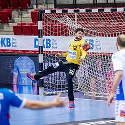 Daniel Rebmann (FRISCH AUF! Goeppingen #12) ; LIQUI MOLY HBL 20/21  1. Handball-Bundesliga: TVB Stuttgart - FRISCH AUF! Goeppingen am 24.04.2021 in Stuttgart (SCHARRena), Baden-Wuerttemberg, Deutschland beim Spiel in der Handball Bundesliga, TVB 1898 Stuttgart - FRISCH AUF! Goeppingen.<br /> <br /> Foto © PIX-Sportfotos *** Foto ist honorarpflichtig! *** Auf Anfrage in hoeherer Qualitaet/Aufloesung. Belegexemplar erbeten. Veroeffentlichung ausschliesslich fuer journalistisch-publizistische Zwecke. For editorial use only.