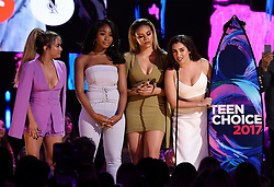 LOS ANGELES - AUGUST 13: L-R: Ally Brooke, Normani Kordei, Dinah Jane, and Lauren Jauregui of Fifth Harmony accept the Choice Music Group award onstage at FOX's 'Teen Choice 2017' at the Galen Center on August 13, 2017 in Los Angeles, California. (Photo by Frank Micelotta/FOX/PictureGroup) *** Please Use Credit from Credit Field ***